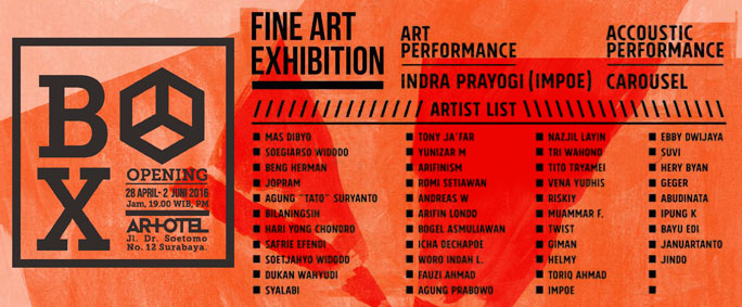 BOX Art Exhibition Schedule at Artotel Surabaya
