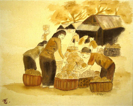 dechapoe_painting_javanese_traditionalmarket_sketchart_1