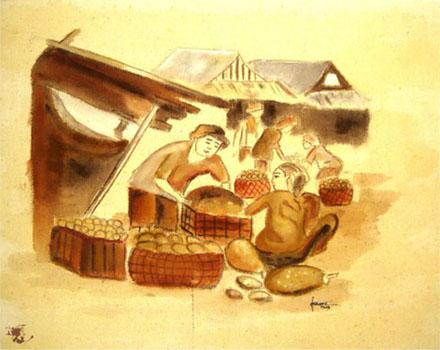 dechapoe_painting_javanese_traditionalmarket_sketchart_2
