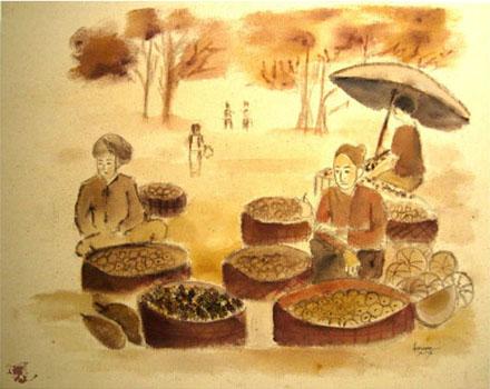 dechapoe_painting_javanese_traditionalmarket_sketchart_7