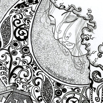 clair de lune, moonlight, emotional, doodle, narrative, fine art, dechapoe