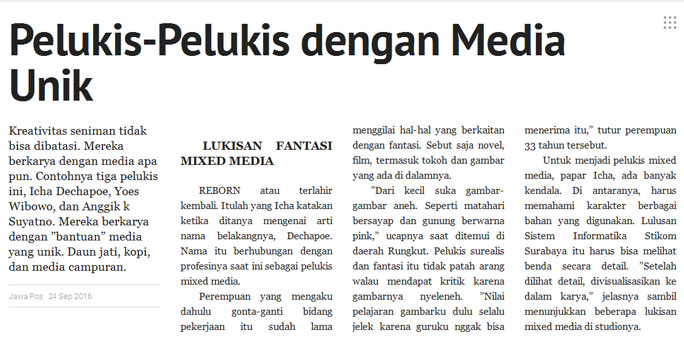 Icha Dechapoe News – Pelukis Dengan Media Unik, Source Jawa Pos Pressreader